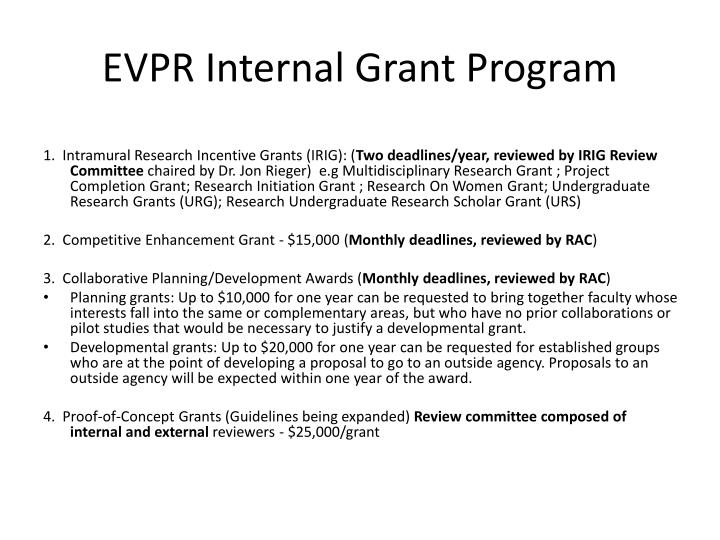 EVPR Internal Grant Program