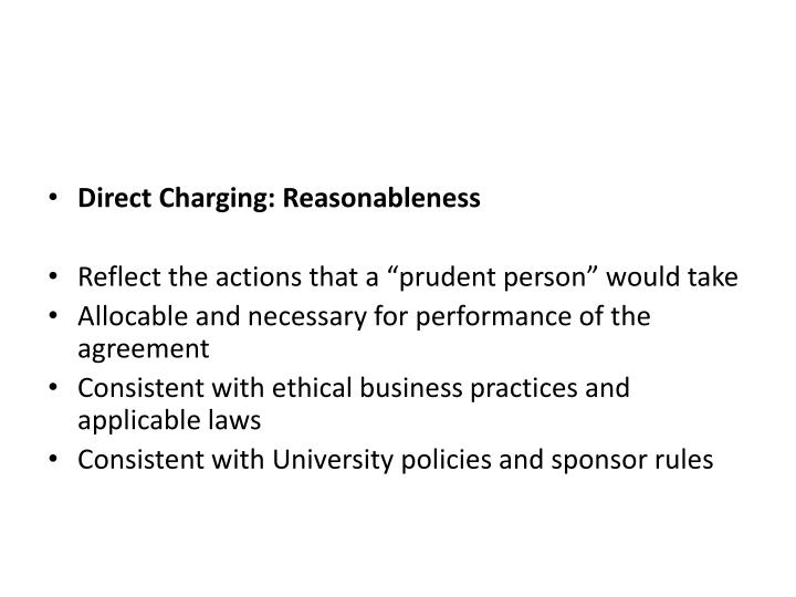 Direct Charging: Reasonableness
