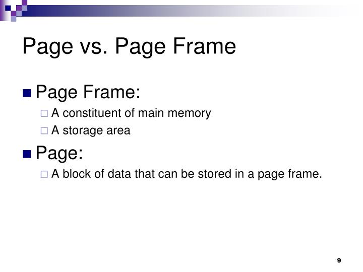 Page vs. Page Frame