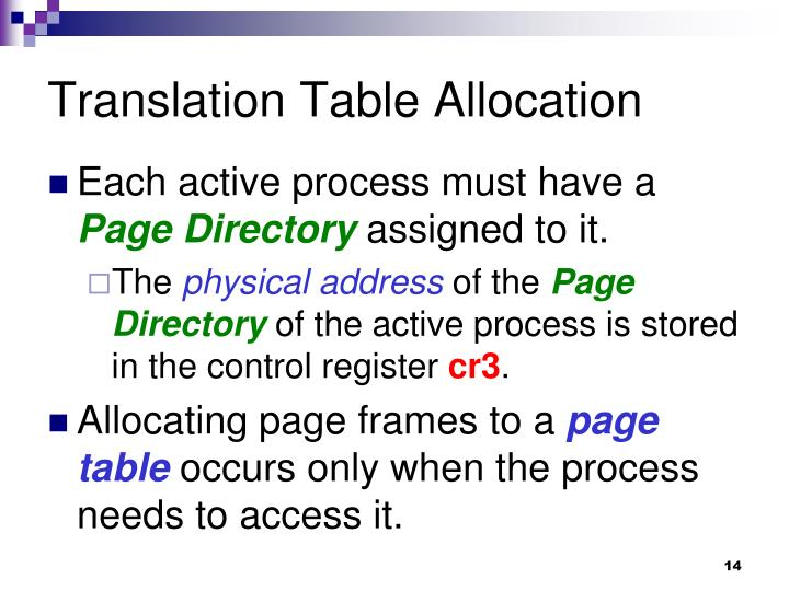 Translation Table Allocation