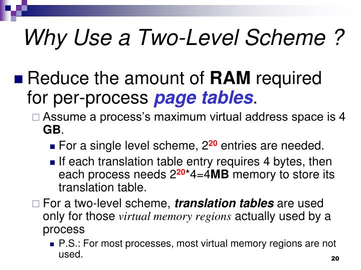 Why Use a Two-Level Scheme ?