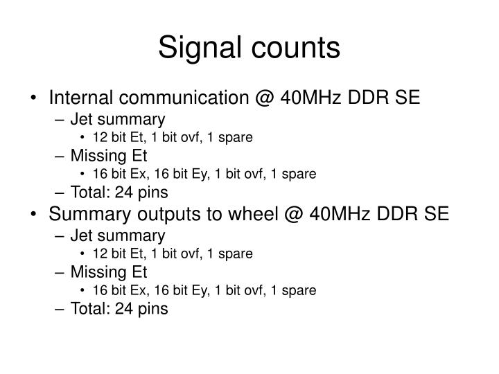 Signal counts