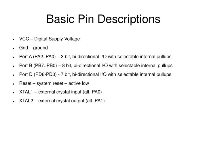 Basic Pin Descriptions