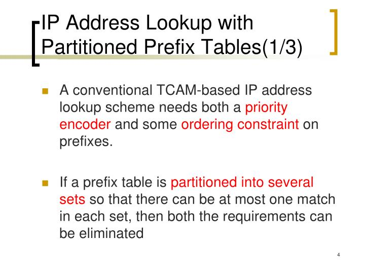 IP Address Lookup with Partitioned Prefix Tables(1/3)