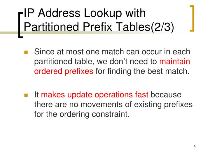 IP Address Lookup with Partitioned Prefix Tables(2/3)