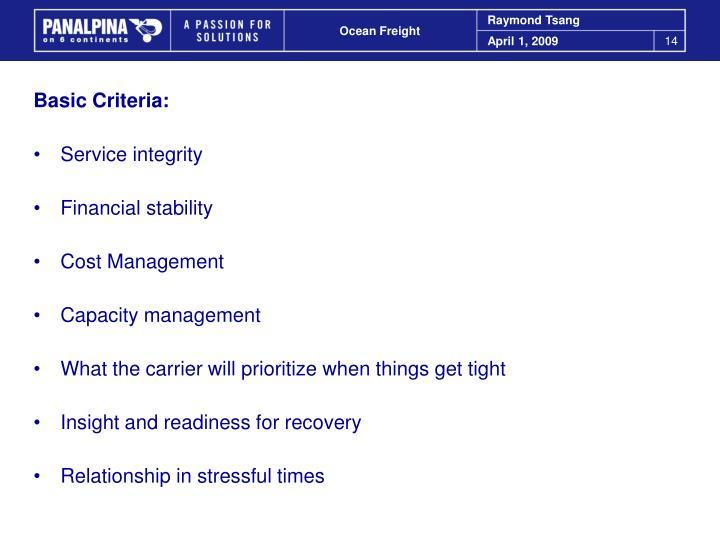 Basic Criteria: