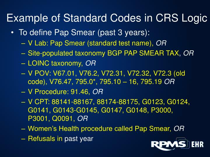 Example of Standard Codes in CRS Logic