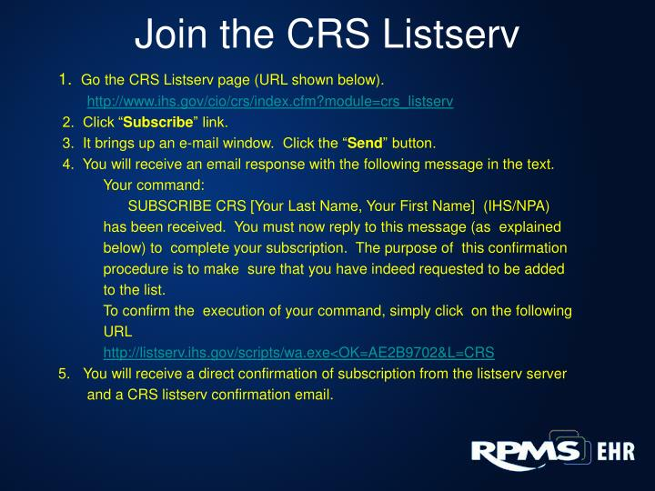 Join the CRS Listserv