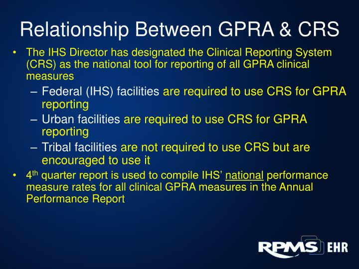 Relationship Between GPRA & CRS