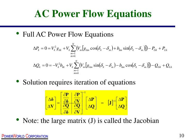 AC Power Flow Equations
