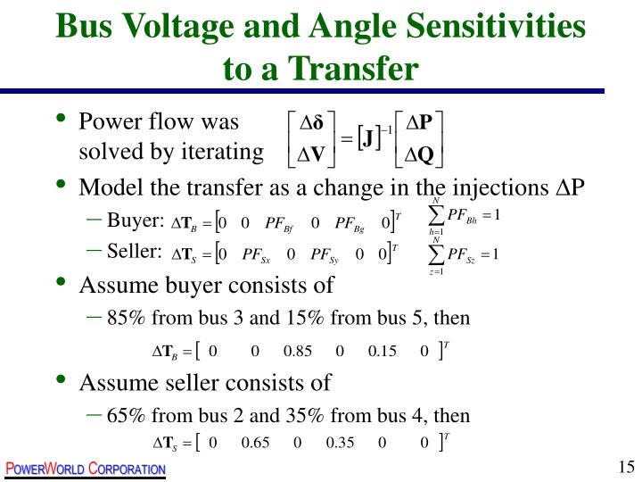 Bus Voltage and Angle Sensitivities to a Transfer
