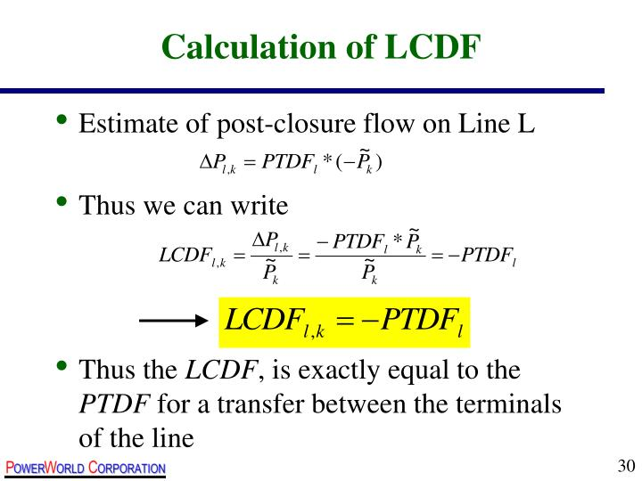 Calculation of LCDF
