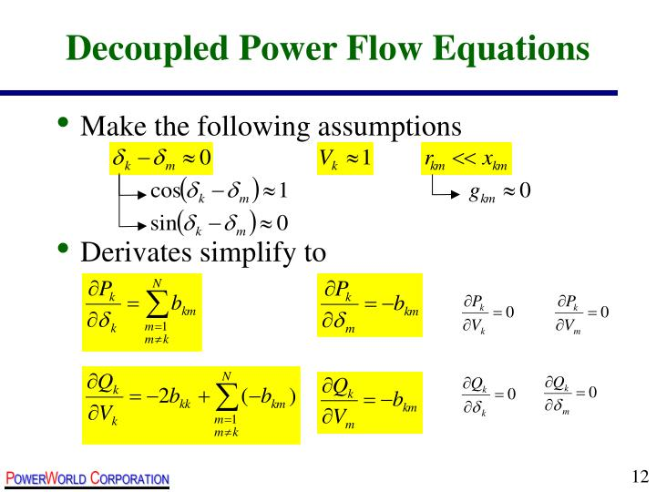Decoupled Power Flow Equations