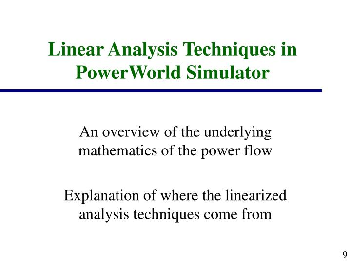 Linear Analysis Techniques in PowerWorld Simulator