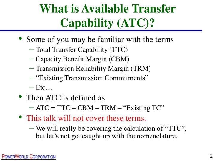 What is available transfer capability atc
