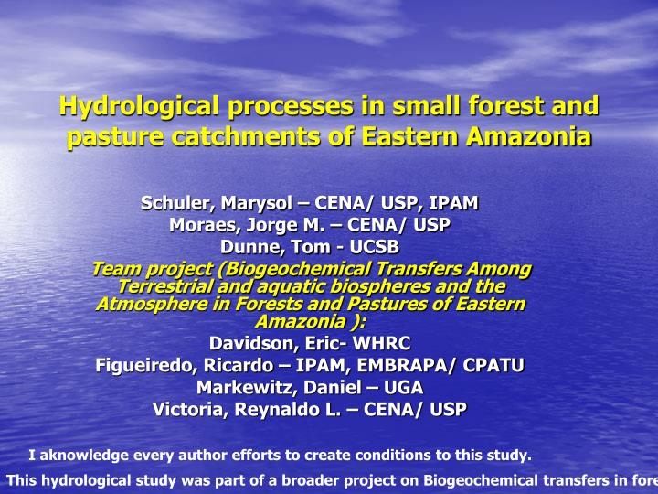 Hydrological processes in small forest and pasture catchments of eastern amazonia