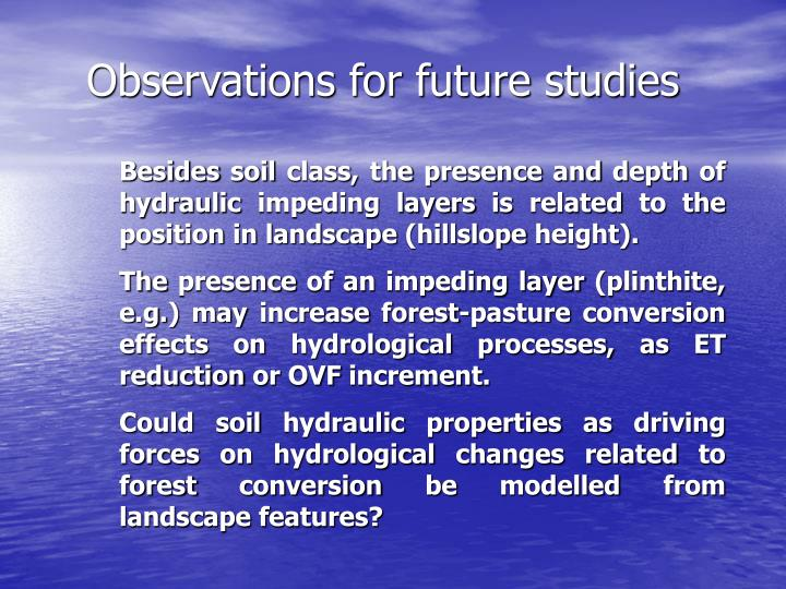 Observations for future studies