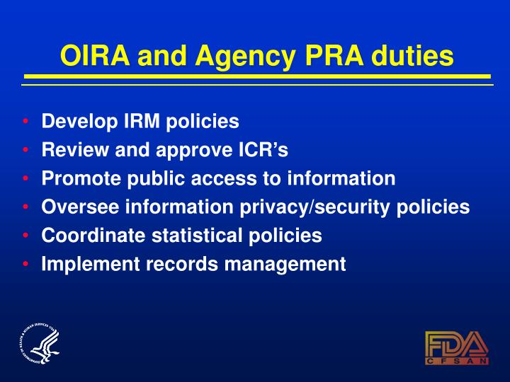 OIRA and Agency PRA duties