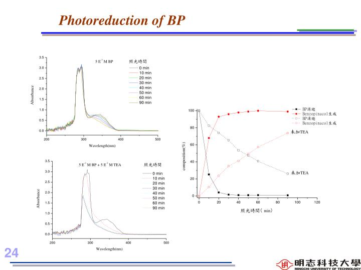 Photoreduction of BP