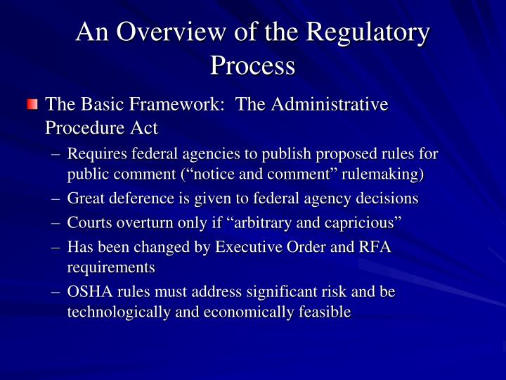 An Overview of the Regulatory Process
