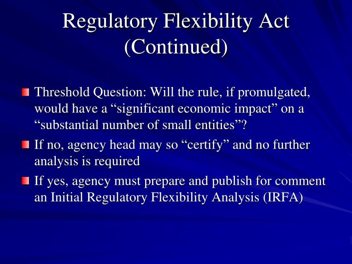 Regulatory Flexibility Act (Continued)