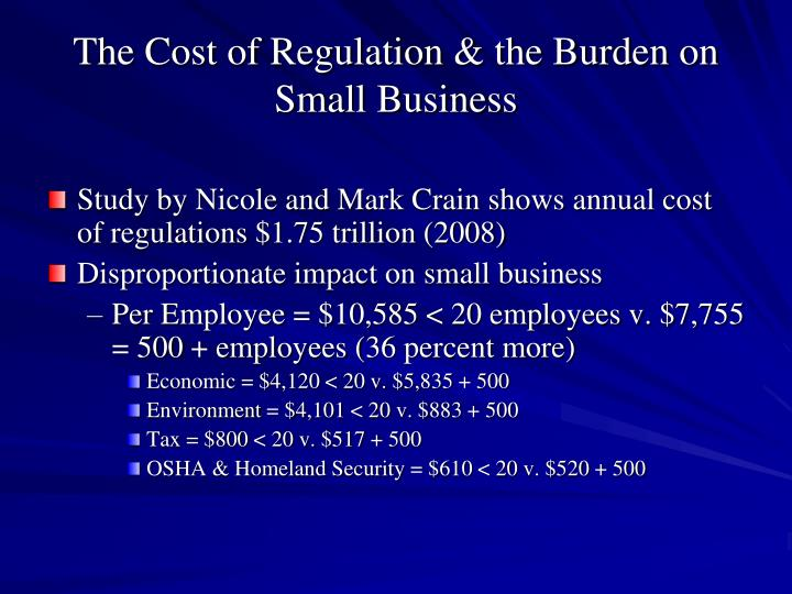 The Cost of Regulation & the Burden on Small Business