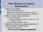 real system to logical abstraction