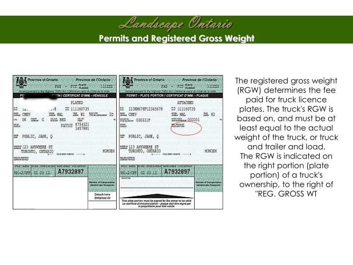 Permits and Registered Gross Weight