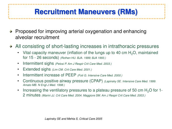 Recruitment Maneuvers (RMs)