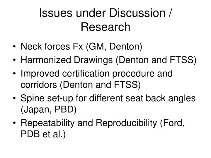 Issues under discussion research