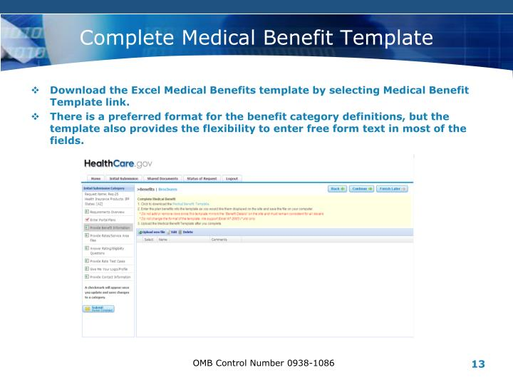 Complete Medical Benefit Template