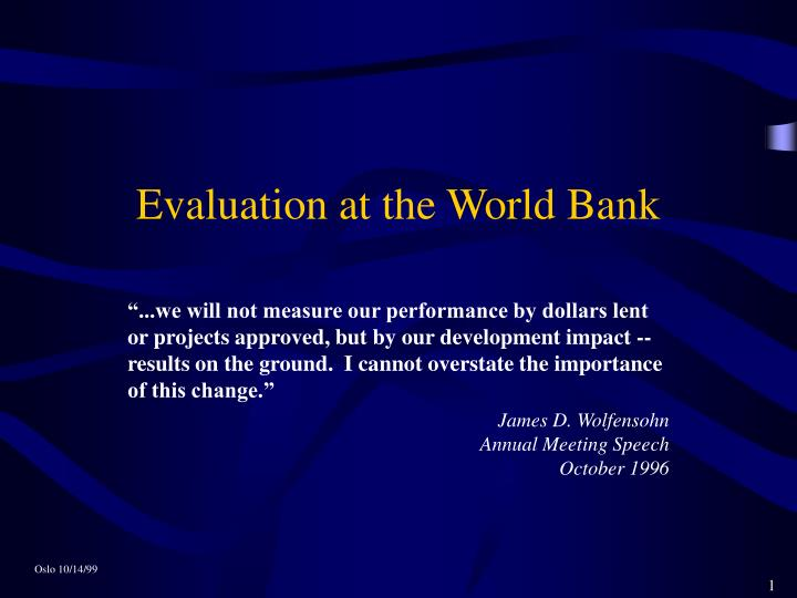 evaluation at the world bank n.