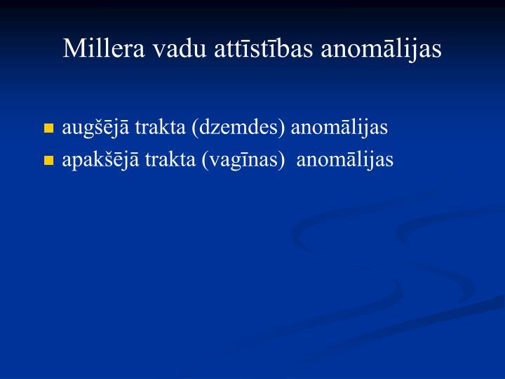 Millera vadu attīstības anomālijas