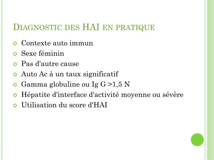 Diagnostic des HAI en pratique