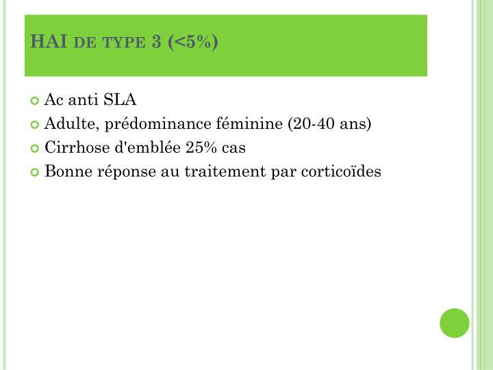 HAI de type 3 (<5%)