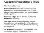 academic researcher s topic