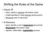 shifting the rules of the game