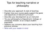 tips for teaching narrative or philosophy