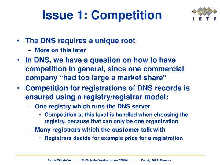 Issue 1: Competition