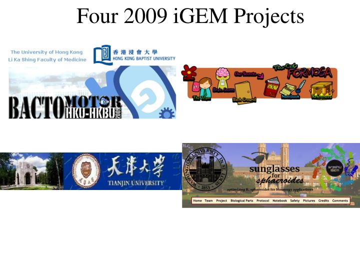 Four 2009 iGEM Projects