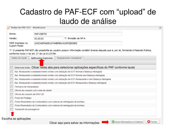 """Cadastro de PAF-ECF com """"upload"""" de laudo de análise"""