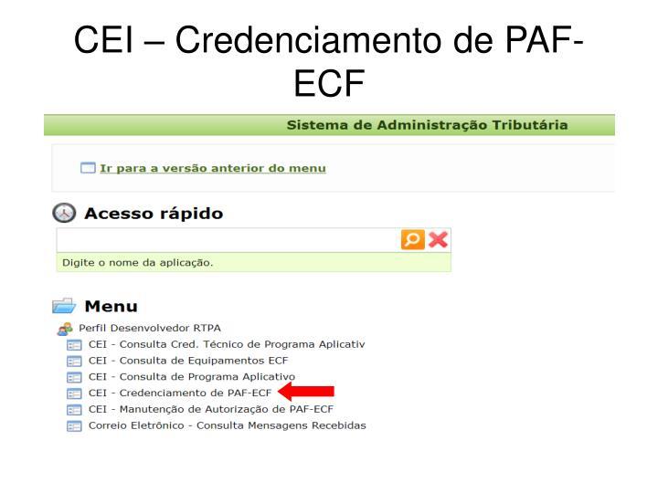 Cei credenciamento de paf ecf