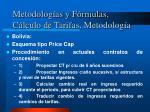metodolog as y f rmulas c lculo de tarifas metodolog a