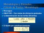 metodolog as y f rmulas c lculo de tarifas metodolog a8