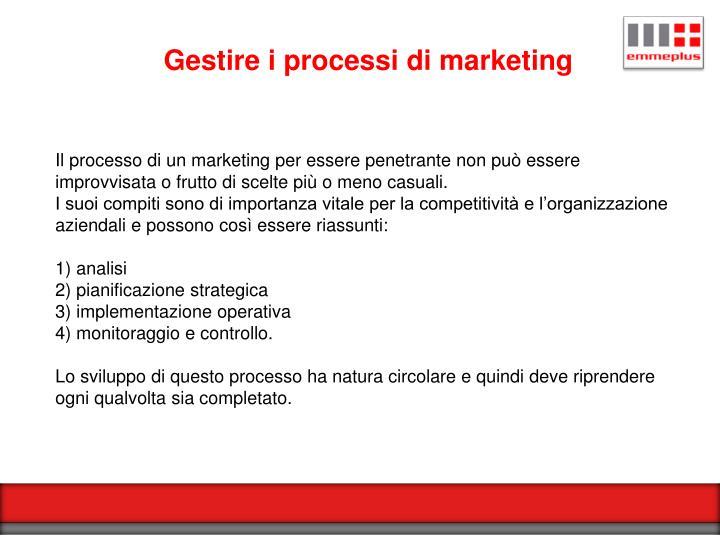 Gestire i processi di marketing
