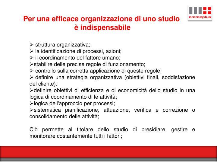 Per una efficace organizzazione di uno studio