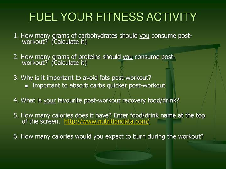 FUEL YOUR FITNESS ACTIVITY