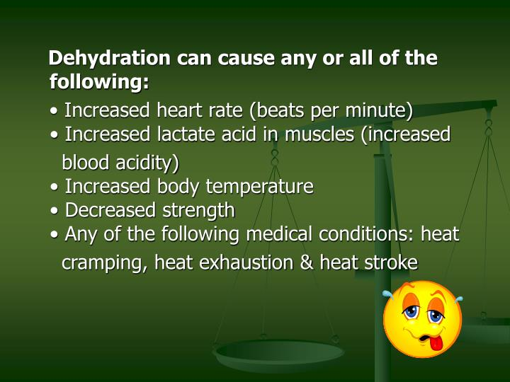 Dehydration can cause any or all of the following: