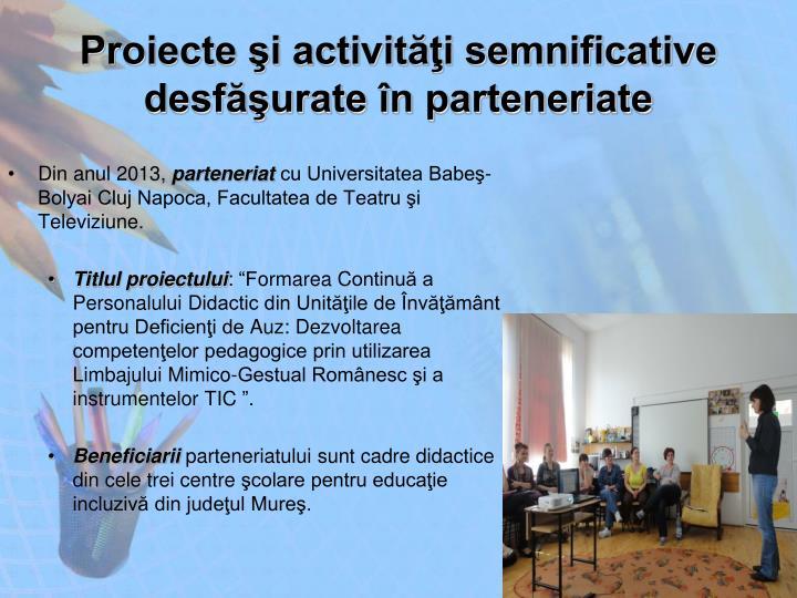 Proiecte şi activităţi semnificative desfăşurate în parteneriate