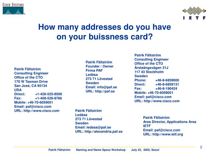 How many addresses do you have on your buissness card?